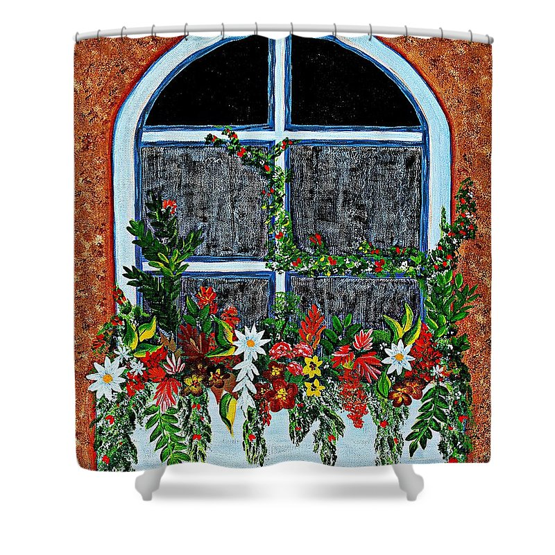 Window Flower Box On A Stucco Wall Shower Curtain featuring the painting Window Flower Box On A Stucco Wall by Barbara Griffin