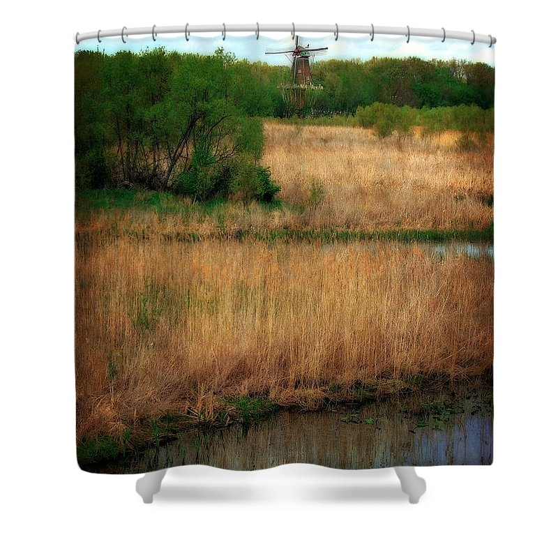 Windmill Island Shower Curtain featuring the photograph Window On The Waterfront Dezwaan Windmill by Michelle Calkins