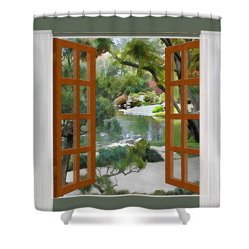Window View Glimpse Of Tranquility Japanese Garden Shower Curtain ...