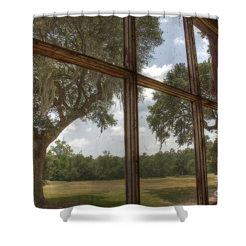 Window Shower Curtain featuring the photograph Window With A View by Traci Law