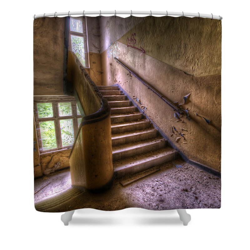 Germany Shower Curtain featuring the digital art Windows And Stairs by Nathan Wright