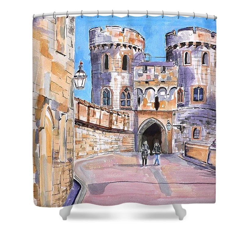 Windsor Castle Shower Curtain featuring the painting Windsor Castle by Geeta Biswas