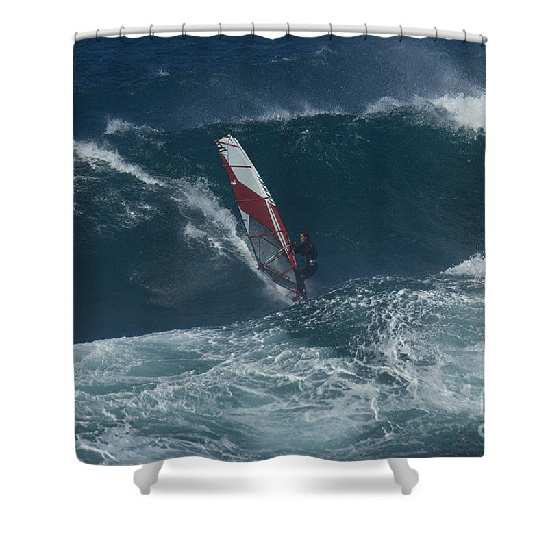 Surf Shower Curtain featuring the photograph Windsurfer 2 Maui by Bob Christopher
