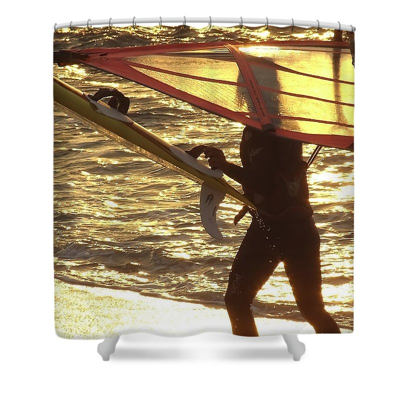 Windsurfing Shower Curtain featuring the photograph Windsurfer At Sunset by Totally Talliesen