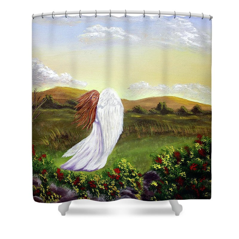 Angel Shower Curtain featuring the painting Windswept Angel by Dawn Blair