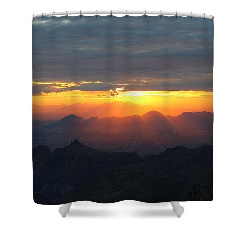 Windy Point Sunset Shower Curtain featuring the photograph Windy Point Sunset 2 by Kume Bryant