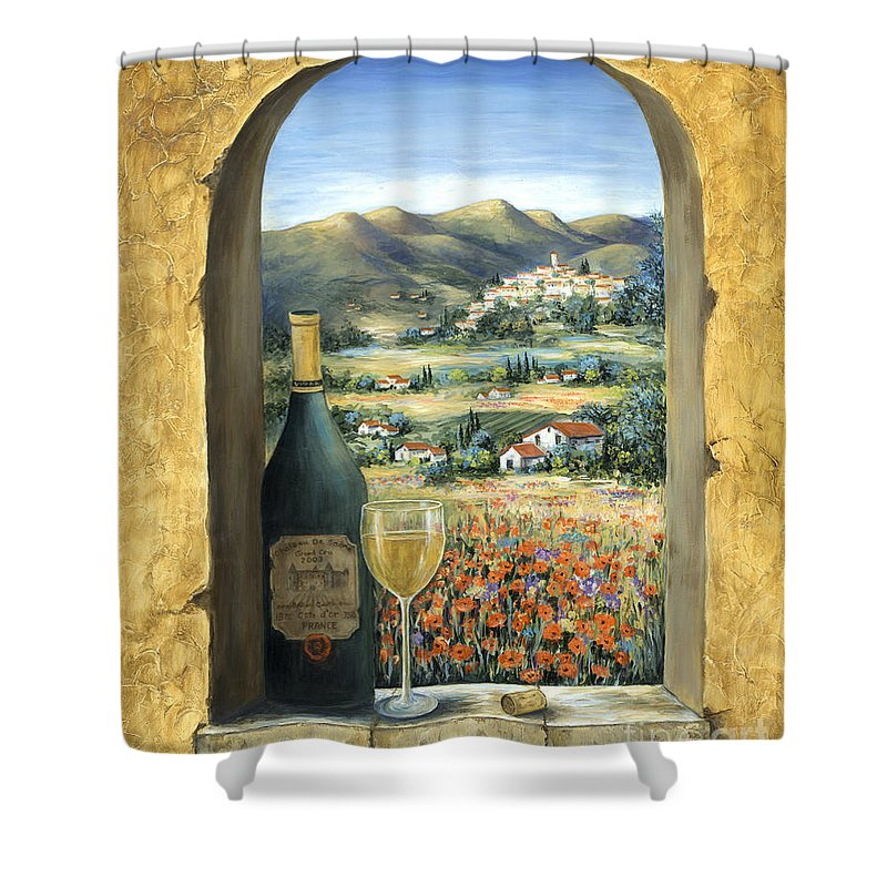 Wine Shower Curtain featuring the painting Wine And Poppies by Marilyn Dunlap