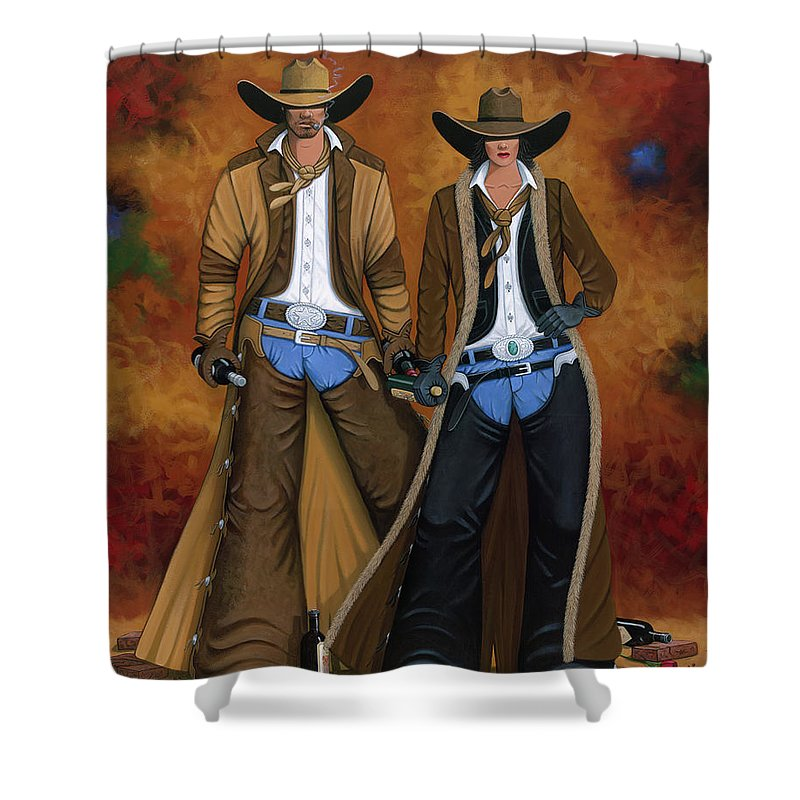 Cowgirl Shower Curtain featuring the painting Wine And Roses by Lance Headlee