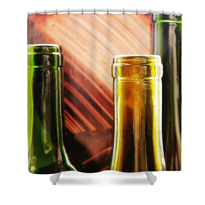 Wine Bottles 2 Shower Curtain featuring the photograph Wine Bottles 2 by Sarah Loft