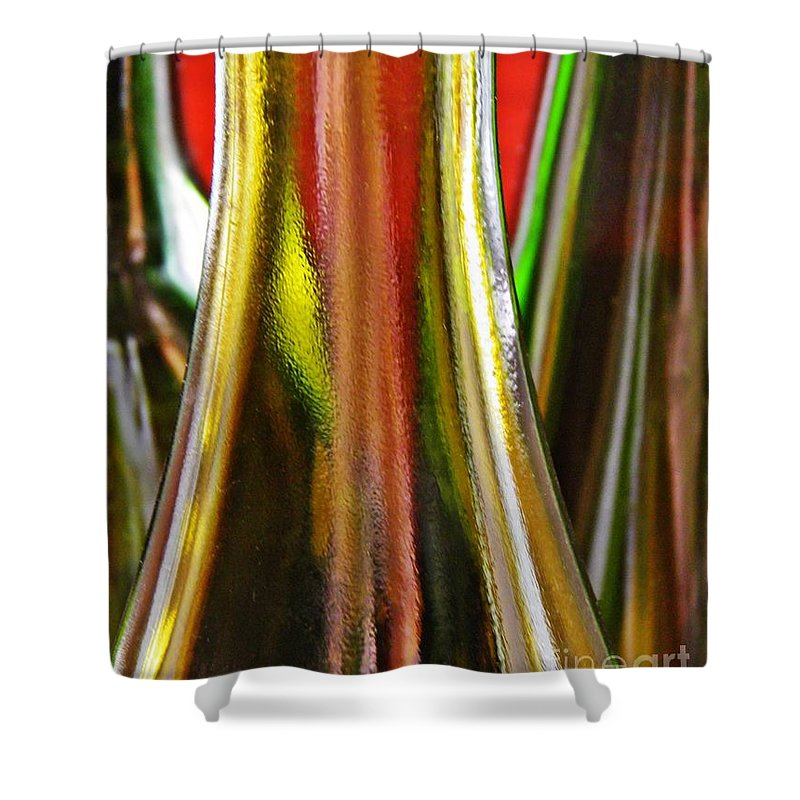 Wine Bottles Shower Curtain featuring the photograph Wine Bottles by Sarah Loft
