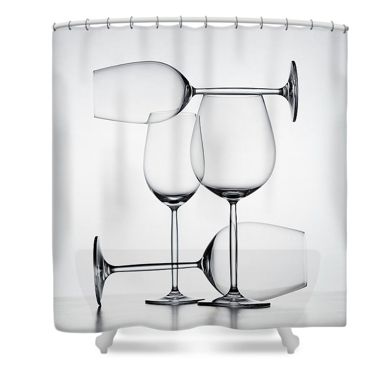 Empty Shower Curtain featuring the photograph Wine Glasses by Jorg Greuel