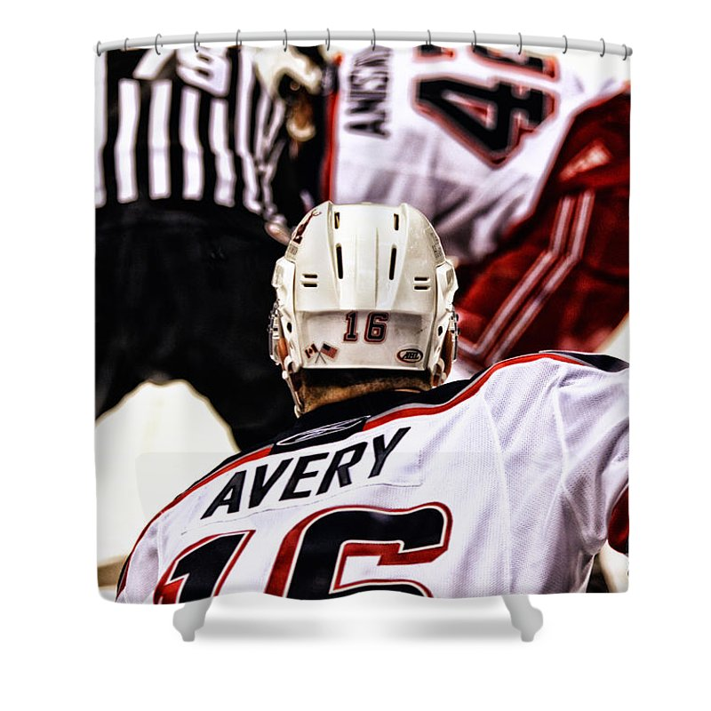 Hockey Shower Curtain featuring the photograph Winger by Karol Livote