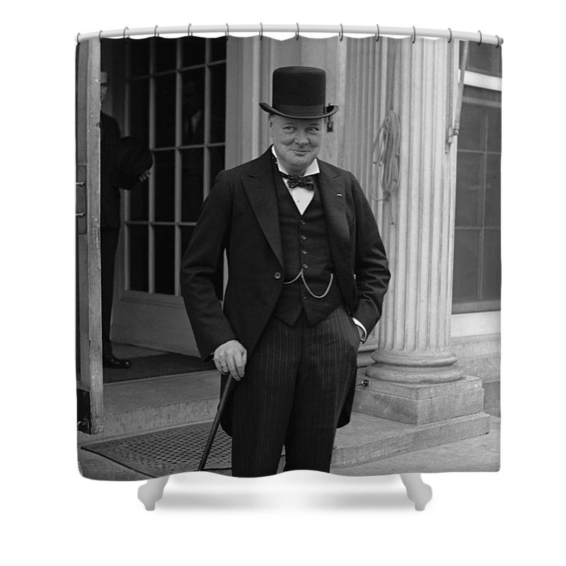Winston Churchill Shower Curtain featuring the photograph Winston Churchill by War Is Hell Store