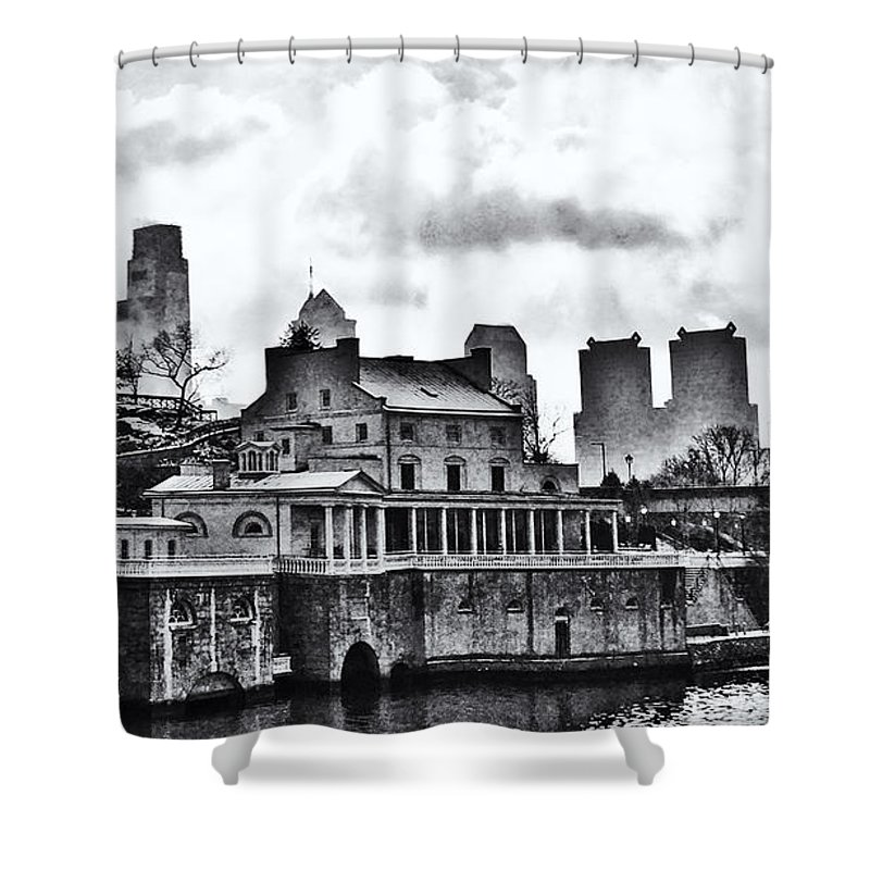 Winter Shower Curtain featuring the photograph Winter At The Fairmount Waterworks In Black And White by Bill Cannon