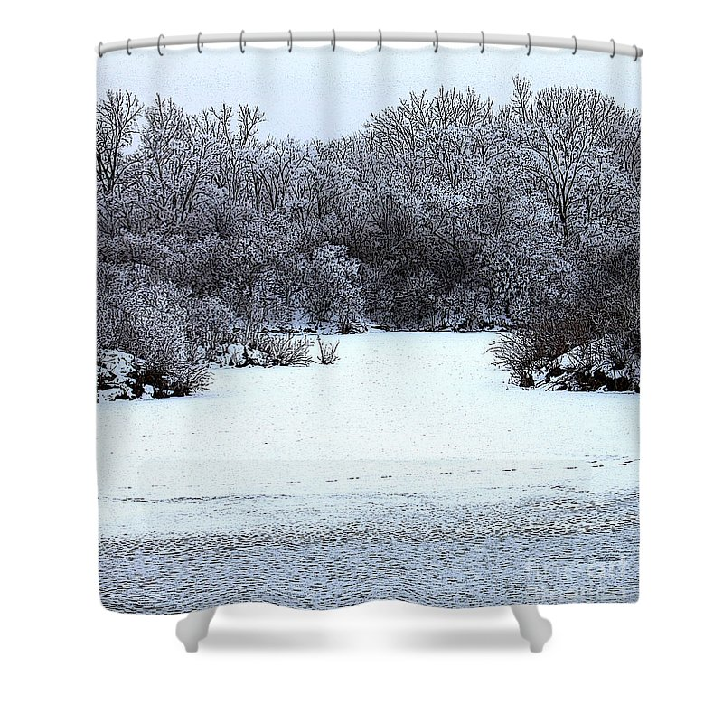 Photoshop Filter Shower Curtain featuring the photograph Winter Blues by Debbie Hart