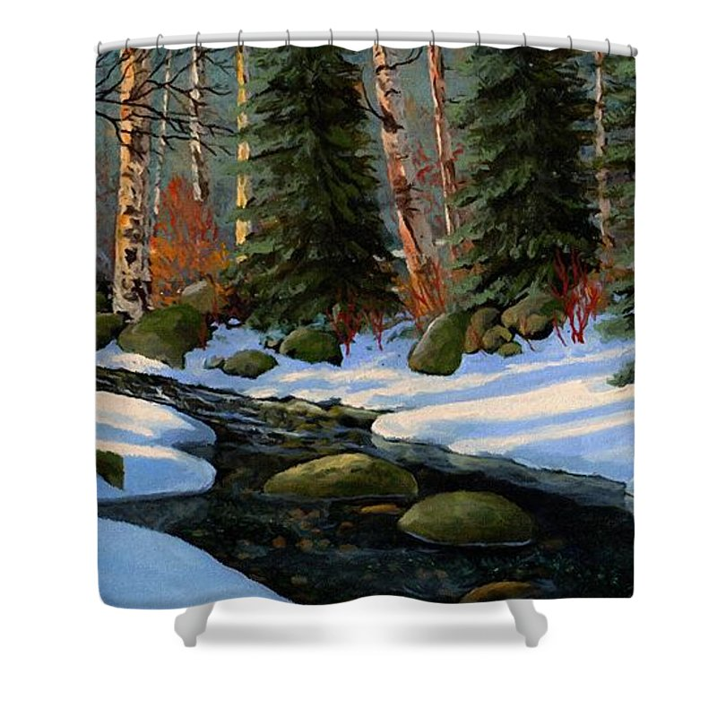 Landscape Shower Curtain featuring the painting Winter Brook by Frank Wilson