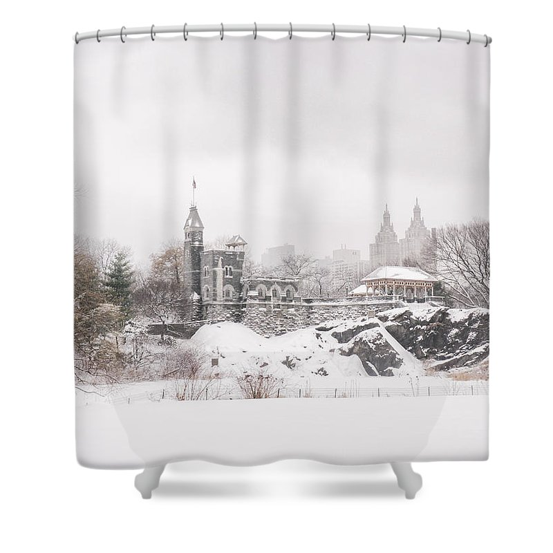 Nyc Shower Curtain Featuring The Photograph Winter Castle