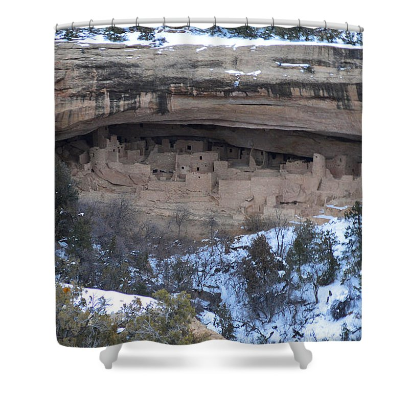 Winter Shower Curtain featuring the photograph Winter Cliff Palace by Meandering Photography
