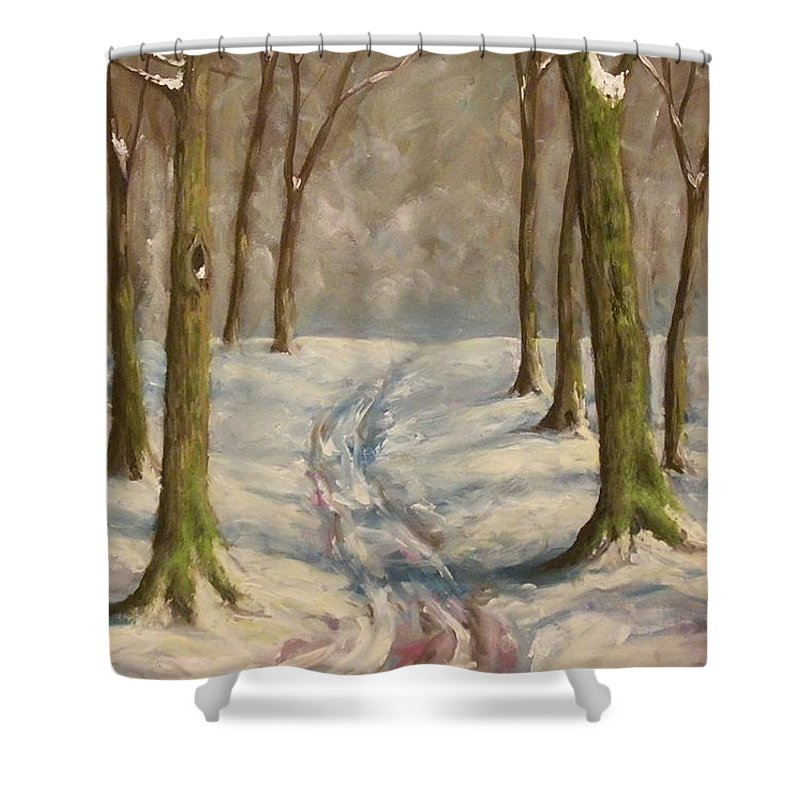 Winter Shower Curtain featuring the painting Winter Day by Birgit Schnapp