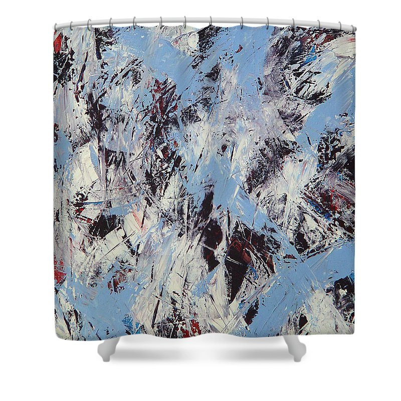 Abstract Shower Curtain featuring the painting Winter by Dean Triolo