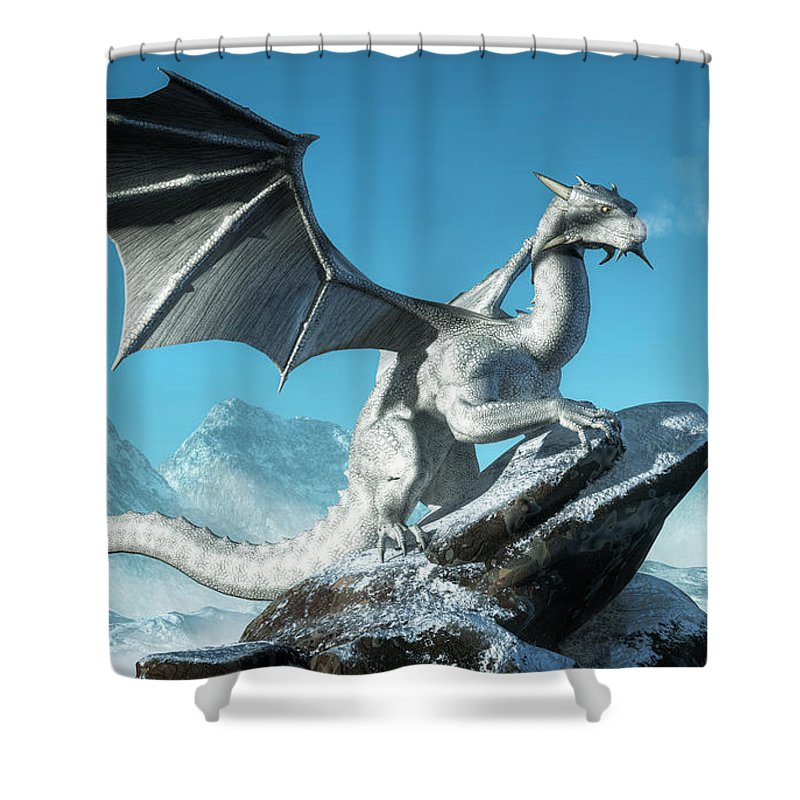 White Dragon Shower Curtain Featuring The Digital Art Winter By Daniel Eskridge
