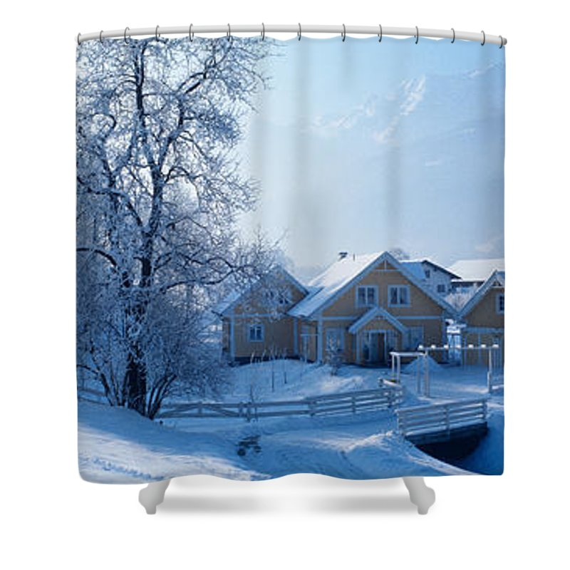 Photography Shower Curtain featuring the photograph Winter Farm Austria by Panoramic Images