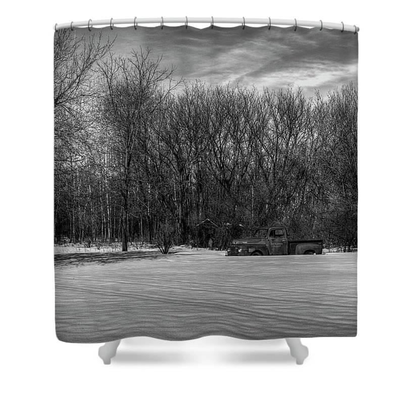 Ford Truck Shower Curtain featuring the photograph Winter Ford Truck 2 by Thomas Young