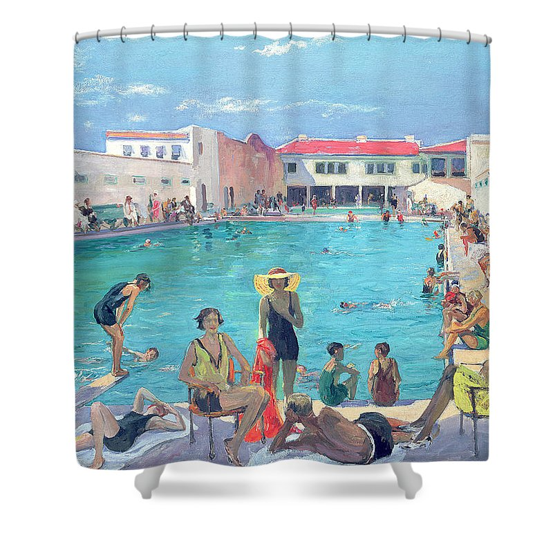 Swimming Pool Shower Curtain featuring the painting Winter In Florida by Sir John Lavery