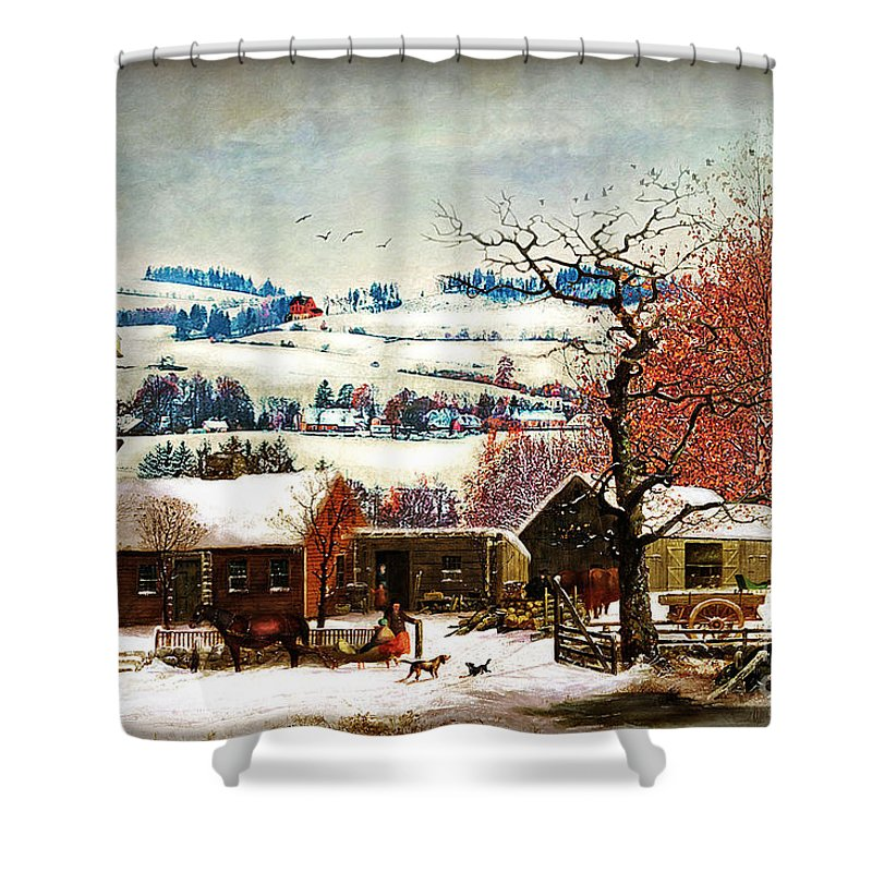 Winter Shower Curtain featuring the digital art Winter In the Country Folk Art by Lianne Schneider