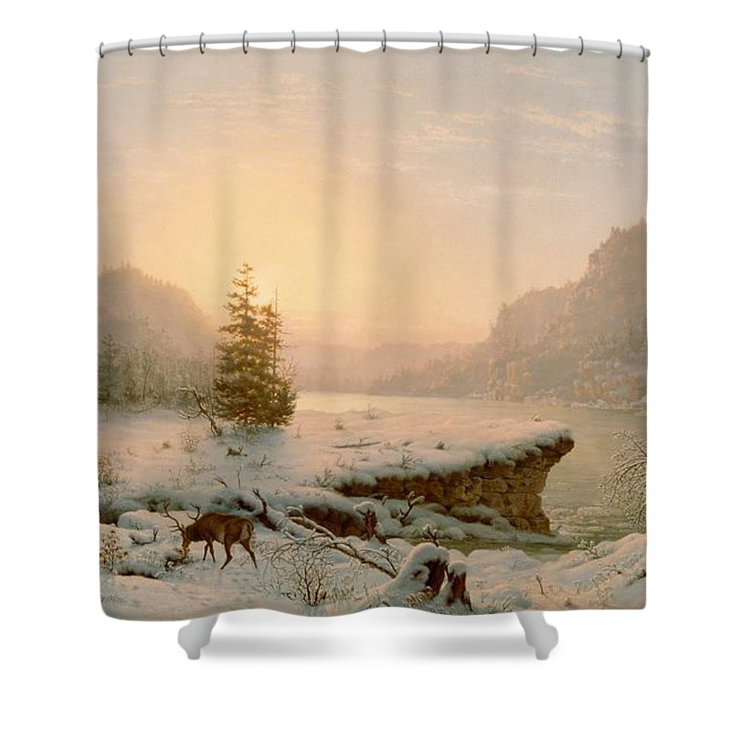 Winter Landscape Shower Curtain For Sale By Mortimer L Smith