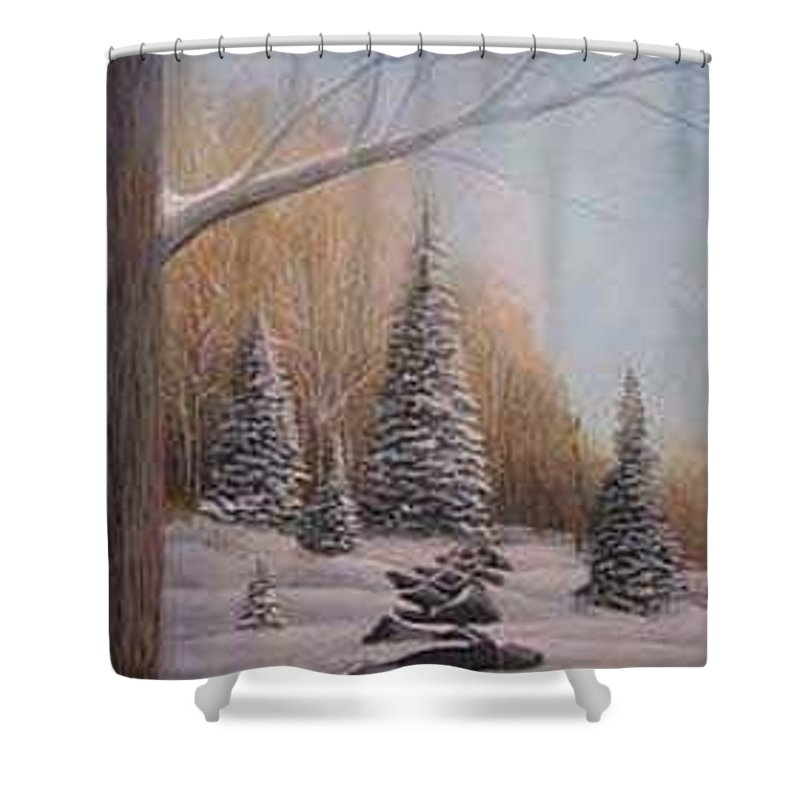 Rick Huotari Shower Curtain featuring the painting Winter Morning by Rick Huotari