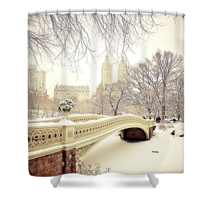 Nyc Shower Curtain Featuring The Photograph Winter