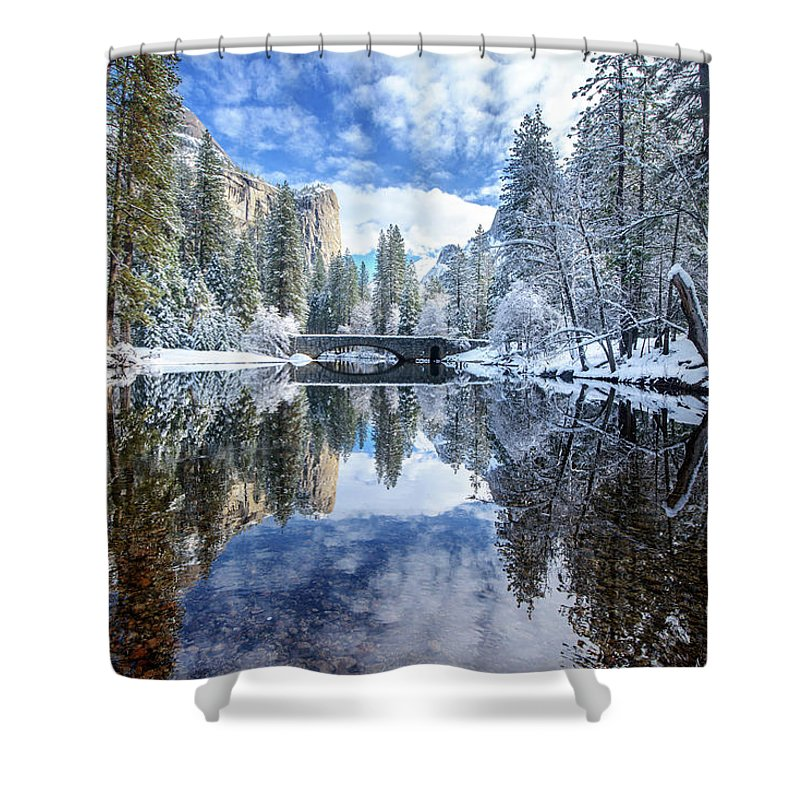 Scenics Shower Curtain featuring the photograph Winter Reflection At Yosemite by Piriya Photography