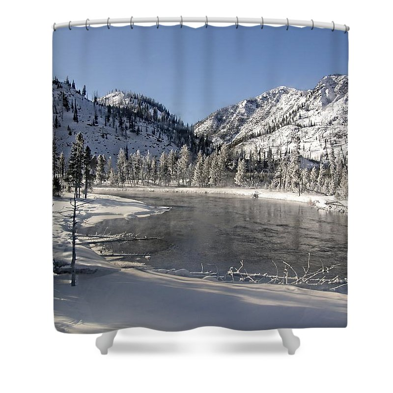 Yellowstone Shower Curtain featuring the photograph Winter River by Image Takers Photography LLC - Laura Morgan