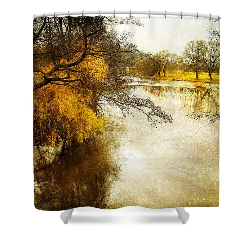 River Shower Curtain featuring the photograph Winter River by Mary Lane