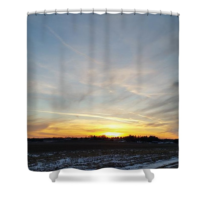 Branched Oak Lake Shower Curtain featuring the photograph Winter Road by Caryl J Bohn