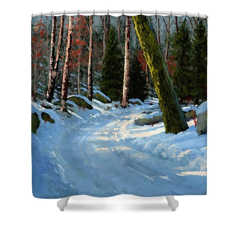 Winter Road Shower Curtain featuring the painting Winter Road by Frank Wilson