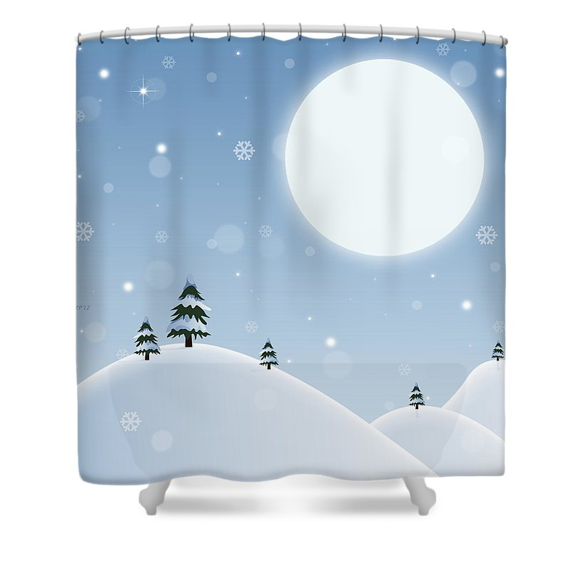 Winter Shower Curtain featuring the digital art Winter Snow Scene by Phil Perkins