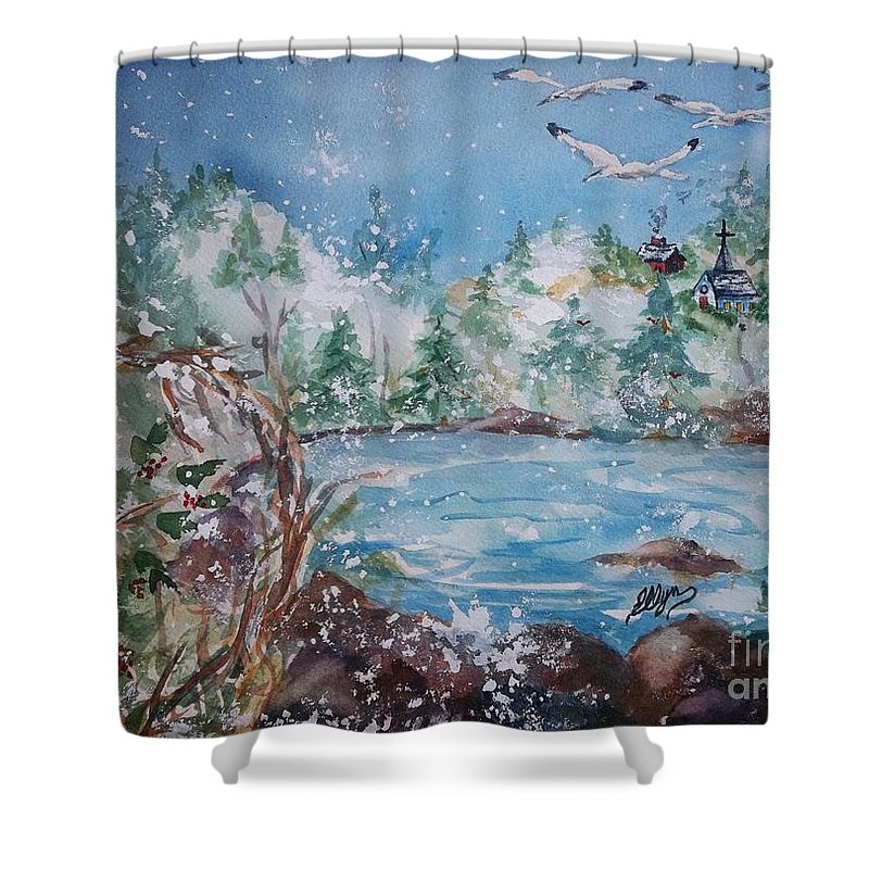 Quaint Country Village Shower Curtain featuring the painting Winter Solstice by Ellen Levinson