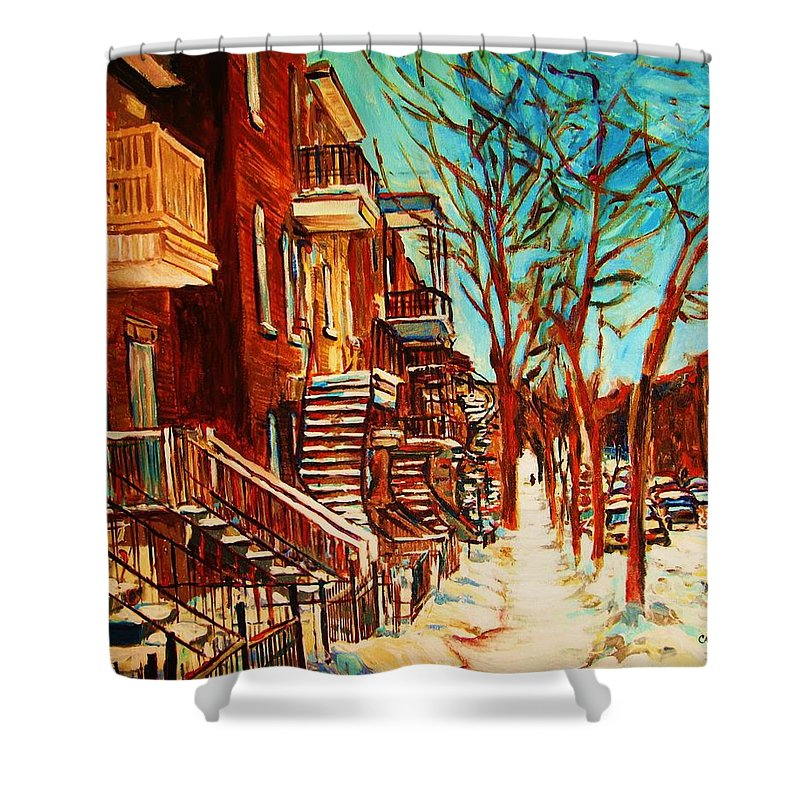 Verdun Paintings By Montreal Street Scene Artist Carole Spandau Shower Curtain featuring the painting Winter Staircase by Carole Spandau
