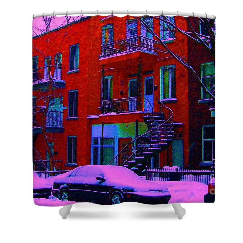 Montreal Shower Curtain featuring the photograph Winter Staircases Two by Carole Spandau