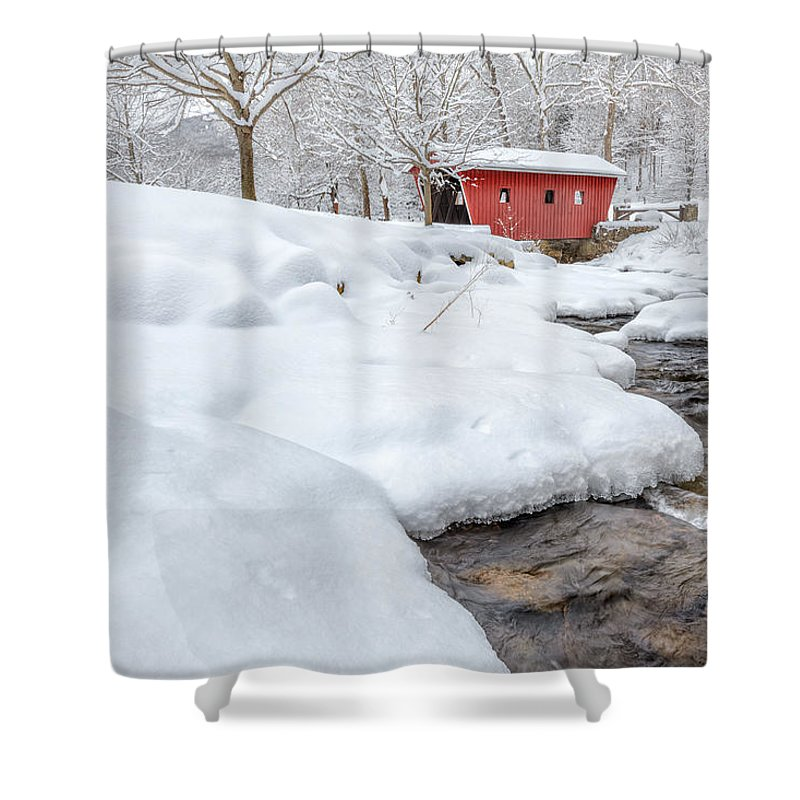 Covered Bridge Shower Curtain featuring the photograph Winter Stream by Bill Wakeley