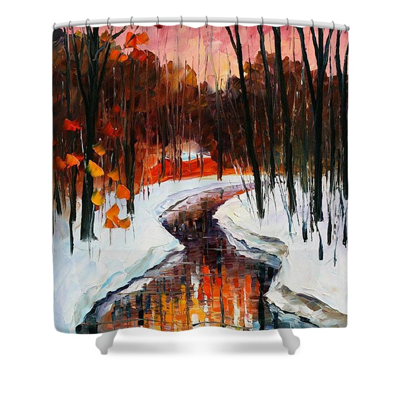 84c02ab04d9 Oil Paintings Shower Curtain featuring the painting Winter Stream - Palette  Knife Oil Painting On Canvas