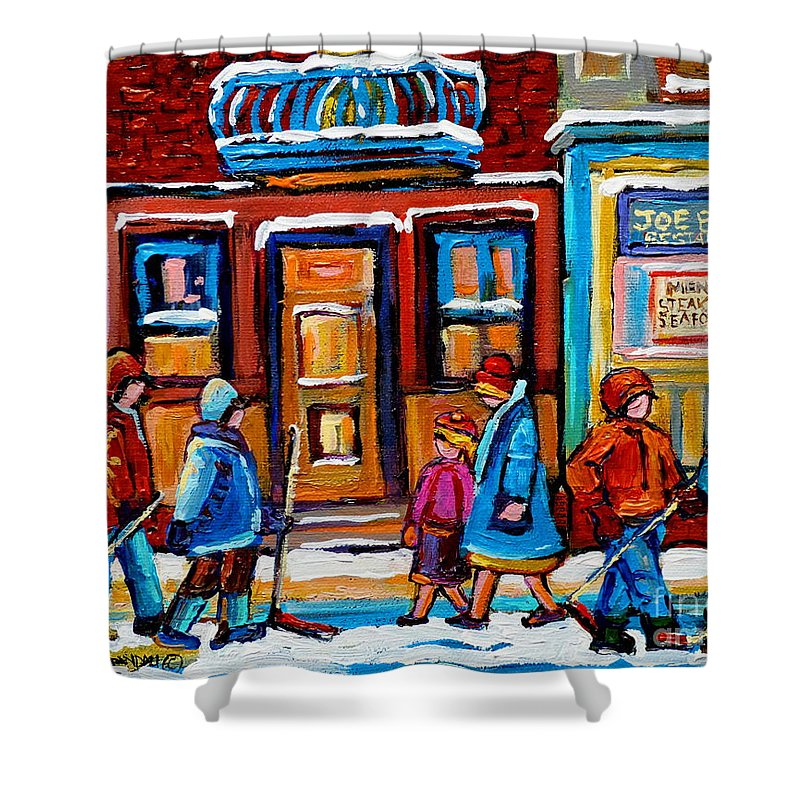 Montreal Shower Curtain featuring the painting Winter Street In Saint Henri by Carole Spandau