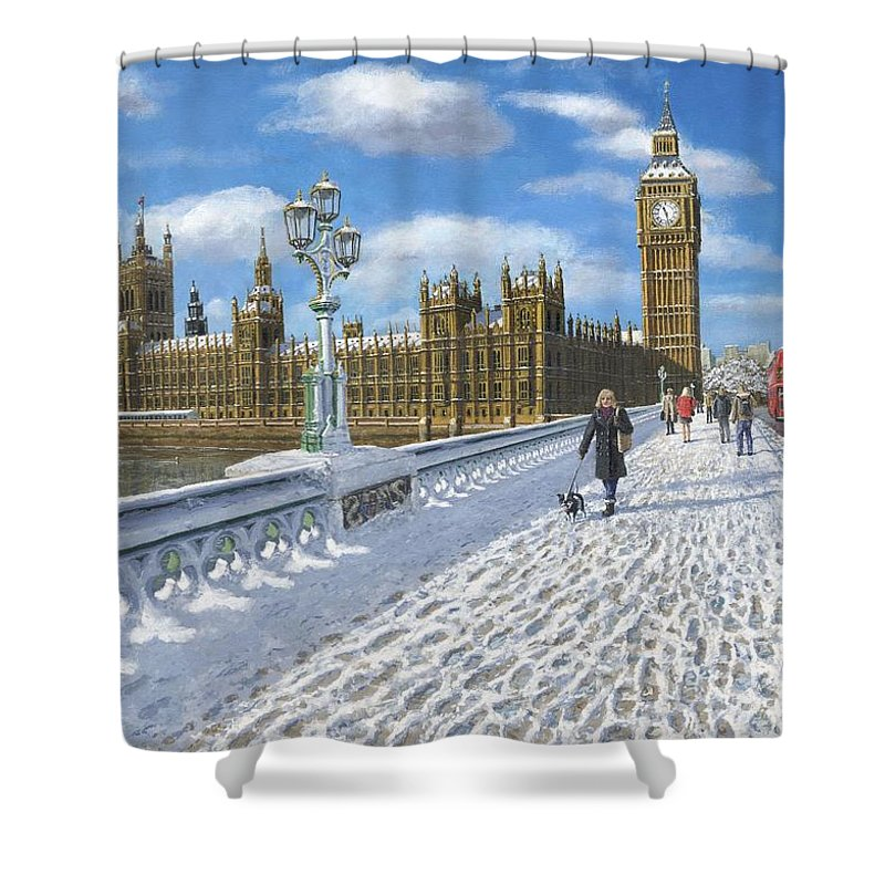 Landscape Shower Curtain featuring the painting Winter Sun - Houses Of Parliament London by Richard Harpum