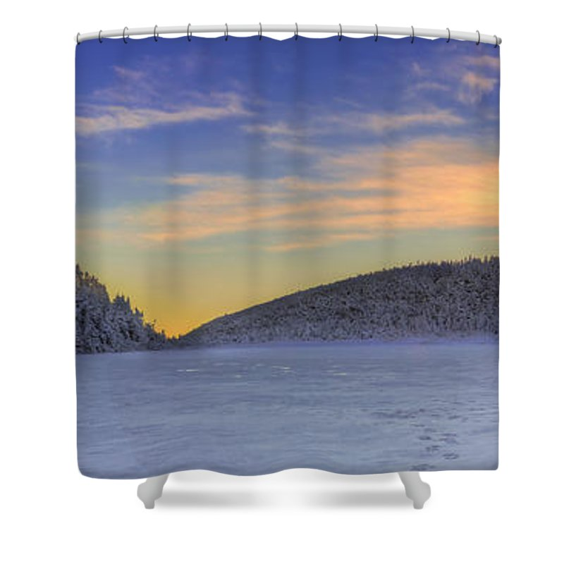 Winter Shower Curtain featuring the photograph Winter Sunset Over Eagle Lakes by Chris Whiton