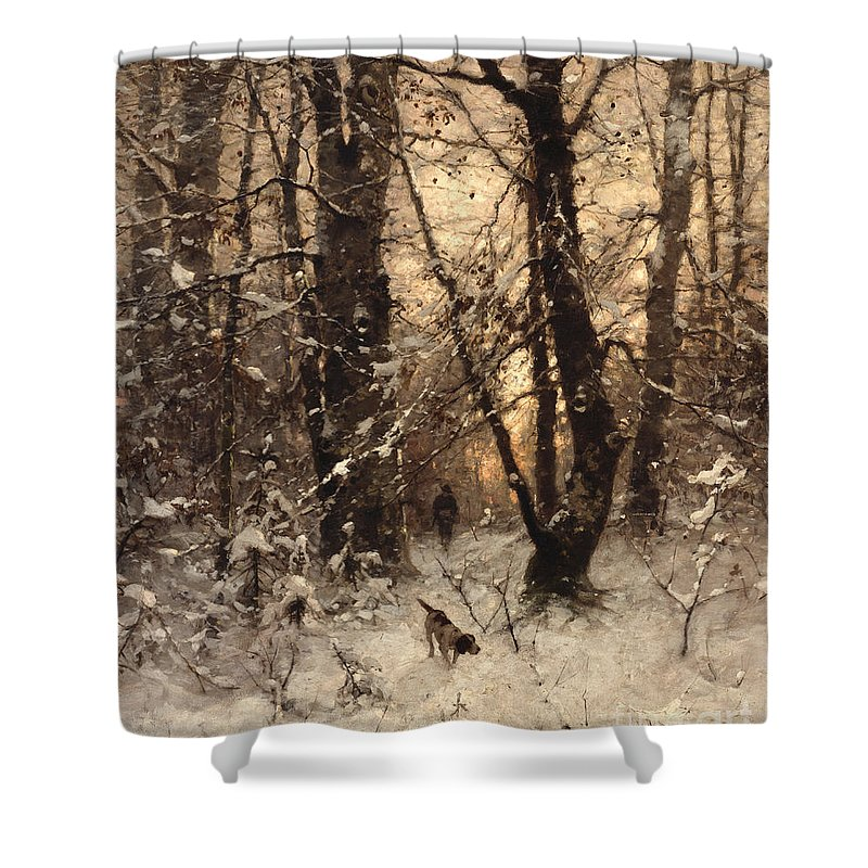 Winter Shower Curtain featuring the painting Winter Twilight by Ludwig Munthe