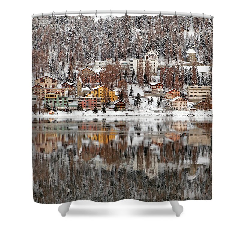 Holiday Shower Curtain featuring the photograph Winter View Of Saint Moritz by Massimo Pizzotti