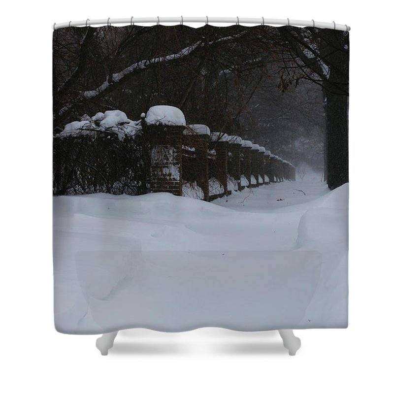 Winter Shower Curtain featuring the photograph Winter Walk by Linda Shafer