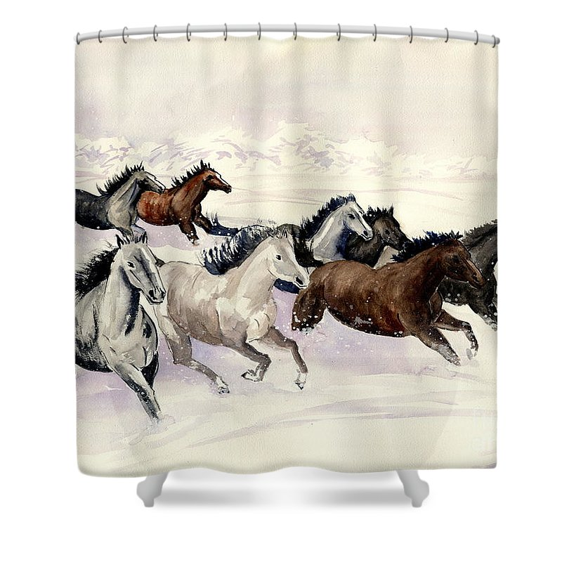 Wild Horse Shower Curtain featuring the painting Winter Wishperer by Melly Terpening